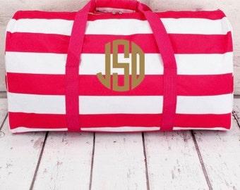 Striped Monogram Duffle Bag, Monogram Duffle Bag