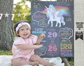 "Custom UNICORN pegesus and rainbow chalkboard style first or any age birthday milestone poster. 18 x 24"" digital file poster, sign"