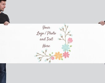 2.5' x 8' XL Horizontal Banner Use Own LOGO or PHOTO Design Custom Personalized
