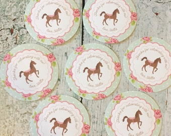 SHABBY CHIC HORSE Birthday Party Favor Tags or Stickers 12 {One Dozen}