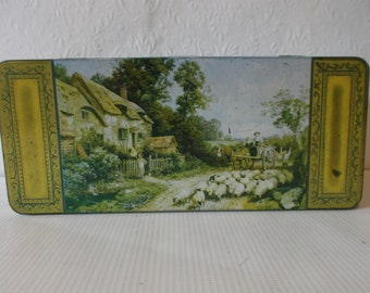 Antique Victorian English Candy Sweets Biscuit Tin Circa 1900s British Souvenir Box