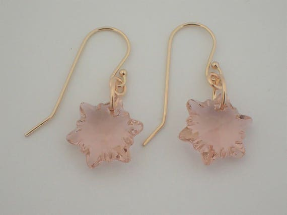 Vintage Rose Edelweiss Earrings,  14k Yellow Gold Filled
