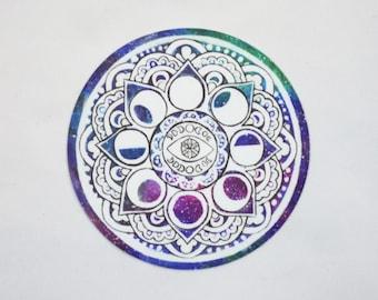 Moon Phase Mandala Art Sticker, Galaxy Moon Circle Laptop Sticker, Crescent Moon Car Sticker, Mandala Art, Original Art Sticker