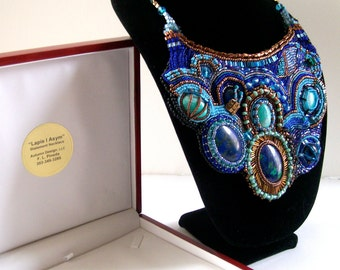 Lapis/Asym - Statement Necklace Bib Necklace Bead Embroidery
