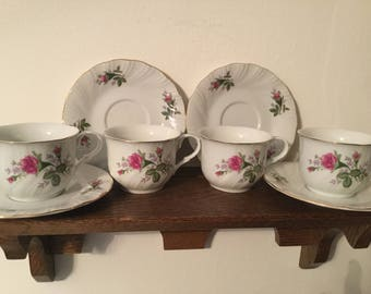 Lynn's VICTORIAN ROSE Fine China Teacups and Saucers   4 Cups with 4 Saucers