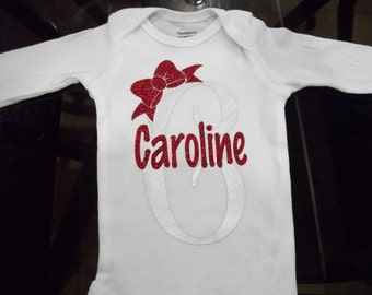 Personalized Infant, Baby Bodysuit With Shiny Silver First Initial, Glitter Name and Bow 100% Cotton