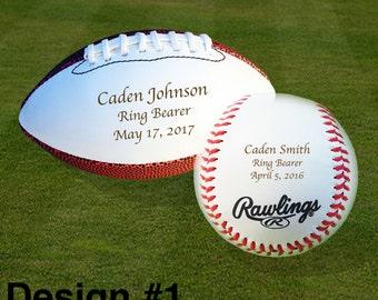 Ring Bearer Gift, Engraved Baseball, Engraved Mini Football, Set of 2 Balls, Wedding Gifts, Christmas Gift, Keepsake, Design #1