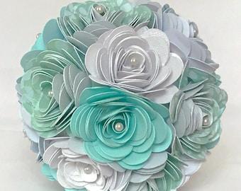 Dance recital Paper Flower Bouquet - Teal and White - Ballet - Gift - Dancer