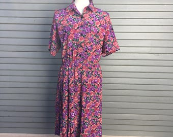 Vintage dress // Leslie Fay // flower print