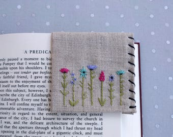 Hand Embroidered Linen Corner Bookmark - Wildflowers
