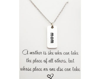 A mother is she who can take the place of all others - gift for mom - mothers necklace - unique gift for mom - inspiration for mom