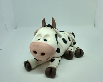 Cow cake topper  handmad edible personalised farm animal birthday party theme any occasion