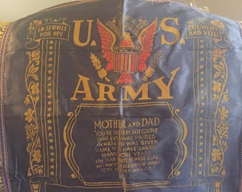 Silky 20 inch by 20 inch US Army Pillow Cover Mother and Dad--Camp Butner N. C.