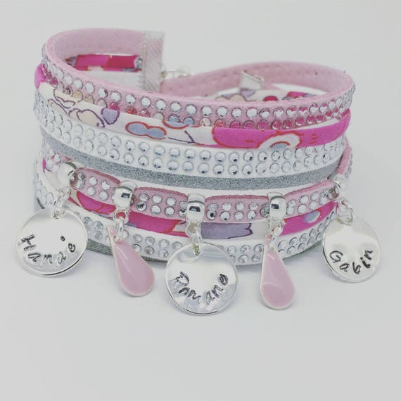 ★ Bracelet name ★ Liberty multi strand with 3 prints custom ★ Palilo Jewelry Personalized Bracelet