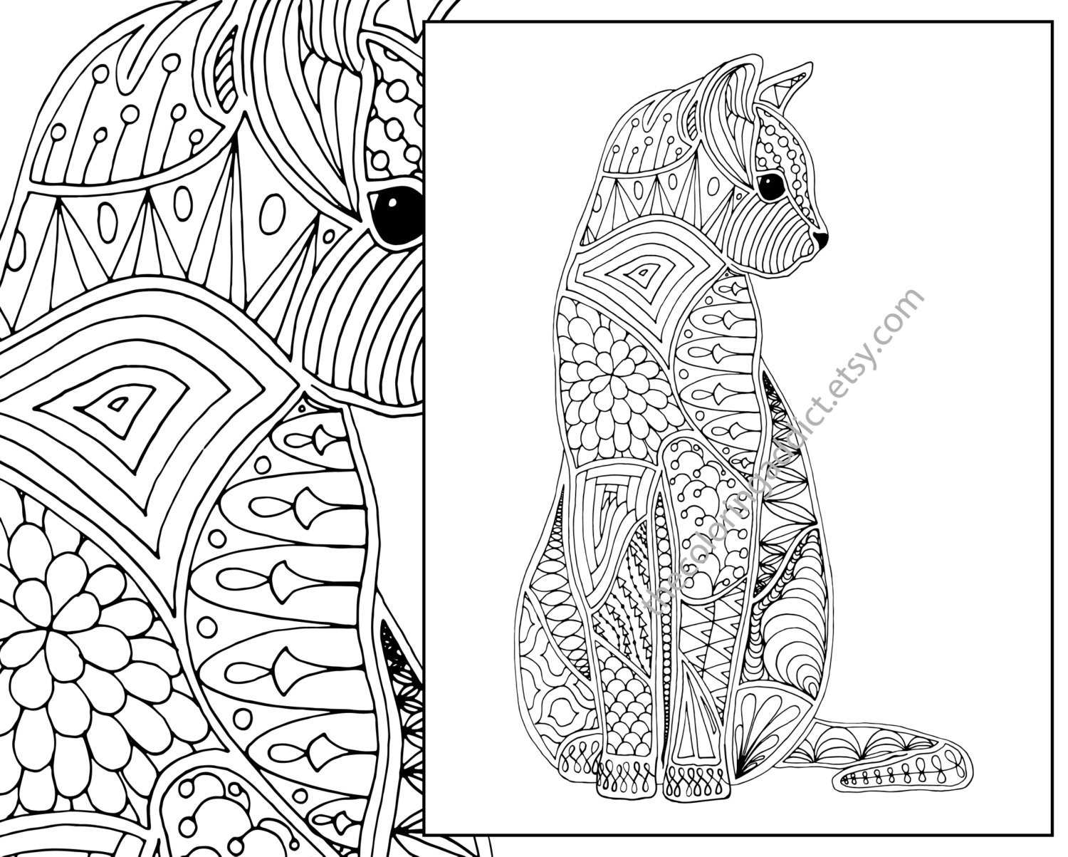Cat Coloring Page Advanced Adult