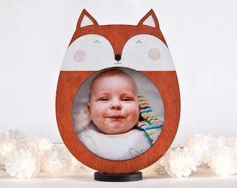 Fox Picture Frame, Orange Photo Frame, Orange Nursery Decor, Baby Shower Gift, Newborn Gift, Baby Room Decor, Wooden Children Frame