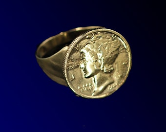 Coin ring for men or women, 24 karat gold plated.