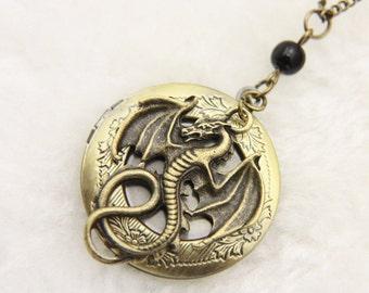 Dragon Necklace, Dragon Locket, fantasy necklace, fantasy jewelry