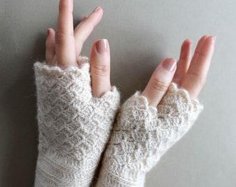 Crochet Fingerless Gloves, Girl Gift, Hand Warmers Women, Beige Gloves Wool, Winter Accessories, Lover Gift, Hand Warmers, Christmas Gift