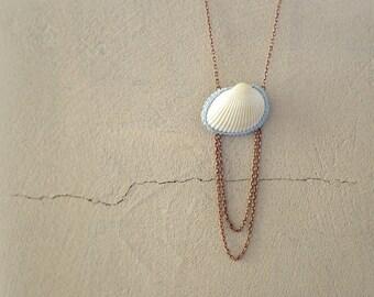 Seashell Necklace, Beach Necklace, Copper Chain Shell Pendant