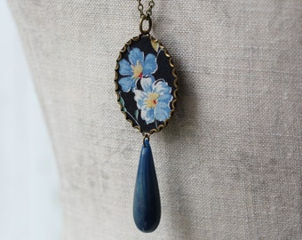 Oval Long Necklace With Teardrop Bead, Boho Vintage Floral Fabric Jewelry, Black And Blue Pendant, Unique Gift For Women