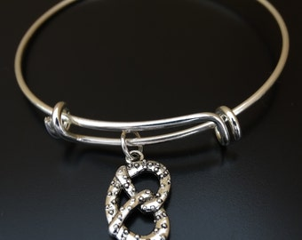 Pretzel Bangle Bracelet, Adjustable Expandable Bangle Bracelet, Pretzel Charm, Pretzel Pendant, Pretzel Jewelry, National Pretzel Day