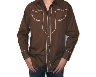 70s Western Shirt Brown Dress Shirt  Western Shirt 1970s Long Sleeve Shirt Pearl Snaps Western Dress Shirt Cowboy Shirt  Brown Western Shirt