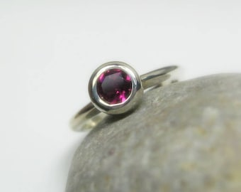 Pink Tourmaline Gemstone Ring, Sterling Silver, Stackable, Ready to Ship, 6.25