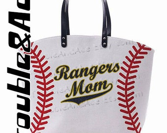 Rangers Mom Personalized Baseball Mom Tote Bags Navy Blue and Gold Sparkle Glitter on White Baseball Bag Custom Spirit Wear