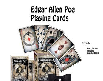 Halloween  gothic Edgar Allen Poe printable cards 52 playing cards with backs and a box to keep them in, collage scrapbook or for games