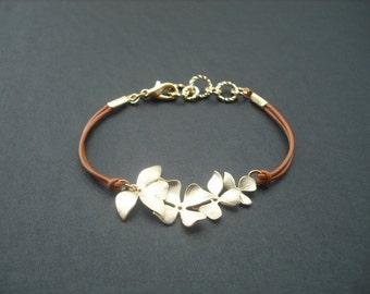 Matte Gold Fourfold Wild Orchid flowers Bracelet