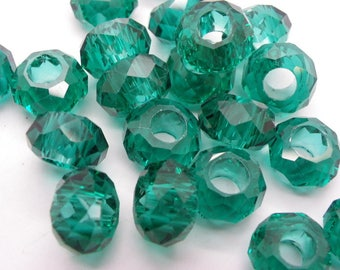 5 beads 14 mm Crystal European glass has faceted blue green 8 mm hole
