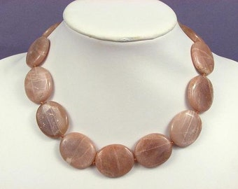 Necklace Yellow Moonstone 30mm flat ovals 925 NSMS5050