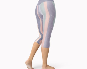 Capri Yoga Leggings, Fitness Leggings, Print Leggings, Gym Leggings, Pastel Leggings, Fitness Pants, Unique Leggings, Yoga Pants