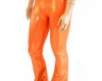 Mens Orange Sparkly Jewel Holographic Bootcut Spandex Pants Rockstar Rave Festival Yoga Leggings Disco -154264