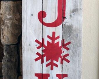 JOY, Reclaimed Wood Sign, christmas decor, art, handmade, holiday, hand-painted, rustic decor, farmhouse Christmas, plaque, xmas, winter
