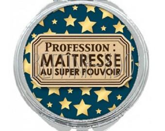 """Pocket mirror """"profession: teacher super power"""""""