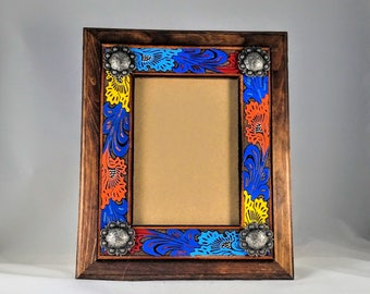 Leather Picture Frame - Painted Leather Frame - Western Picture Frame - Tooled Leather Frame - 5x7 Picture Frame - Western Photo Frame