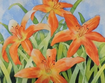 Floral Art, Day Lily-Day Lilies-Orange Flower-Watercolor Painting of a Garden of Day Lilies