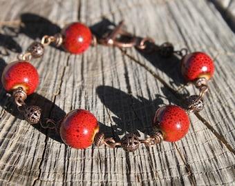 Red Bracelet Beaded Bracelet Ceramic Bracelet Red Jewelry Boho Bracelet Boho jewelry Chic Valentine's day Gift for women Gift for her