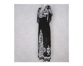 1970s Vintage Caftan Dress / Black and White Bohemian Maxi Dress / Semi Sheer Vintage Floor Length Hippie Dress