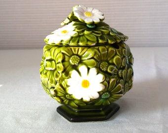 Vintage Japan sugar dish / jam jar/ honey dish/ Fred Roberts Daisy Design/ green/white/yellow/ceramic/collectable