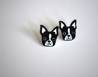 Dog Earrings -- Bulldog Studs, French Bulldog Earrings, Black and White, Unique Earrings, Dog Studs