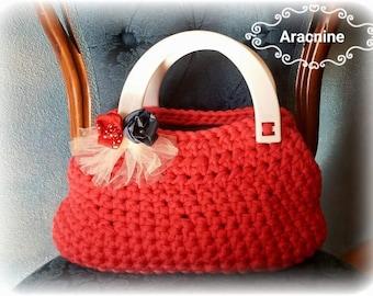 Handmade Red hand bag white handles