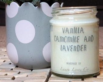Vanilla, Chamomile & Lavender Scented Handmade Candle - Glass Jar Candle with Lid - Personalised Candles
