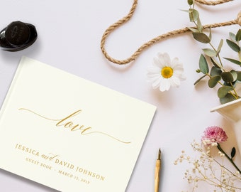 Ivory and Gold Wedding Guest Book, Love Guest Book Wedding, Photo Booth Guestbook, Color Choices Available, SKU: 195