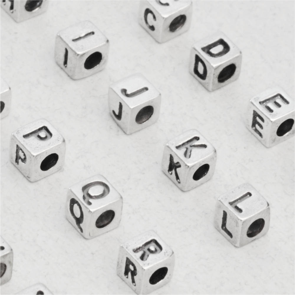 Small Metal Initials Small Sterling Silver Letter Cube Bead 3.8 X 3.9Mm 925