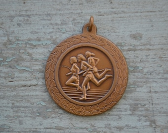 Vintage Gold School Track and Field Girls Relay Medal Award Medallion