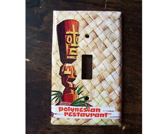 tiki switch plate cover retro hula girl vintage 1950s Hawaii tiki bar decor rockabilly kitsch