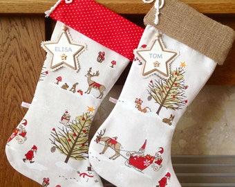 Christmas Stockings, Woodland Christmas Stocking, Personalised Christmas Stocking, Luxury Christmas Stocking, *FREE NAME TAG*, Hessian